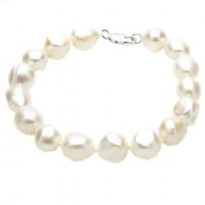 Large Baroque Pearl Bracelet Sterling Silver Clasp